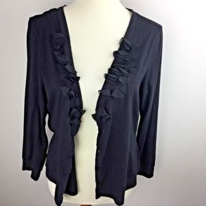 Elle Lightweight Cardigan Size XL Black Ruffles